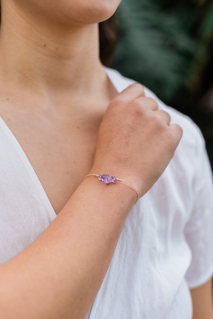 Amethyst Chip Bead Bar Bracelet