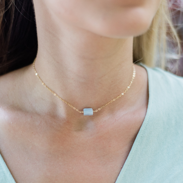 Tiny Raw Blue Lace Agate Crystal Nugget Necklace