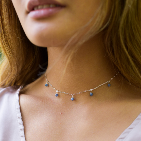 Crystals for Love and Friendship Kyanite Bead Drop Choker