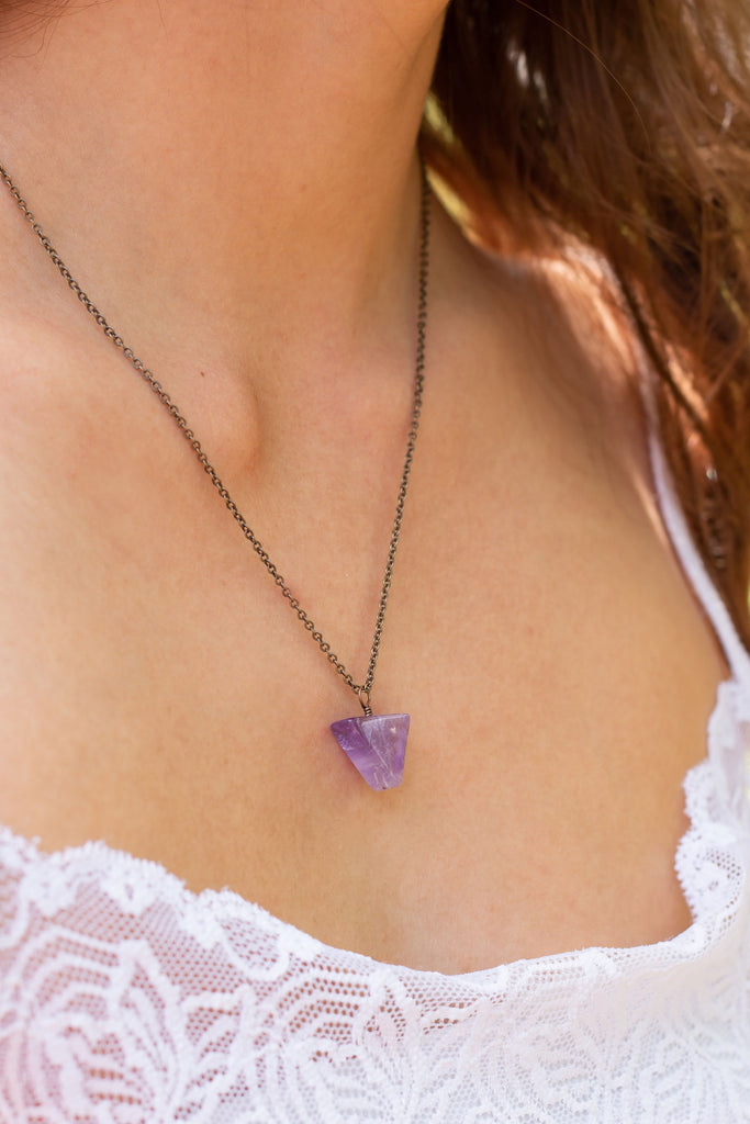 Amethyst Crystal Triangle Necklace Pisces Zodiac Stones and their meanings