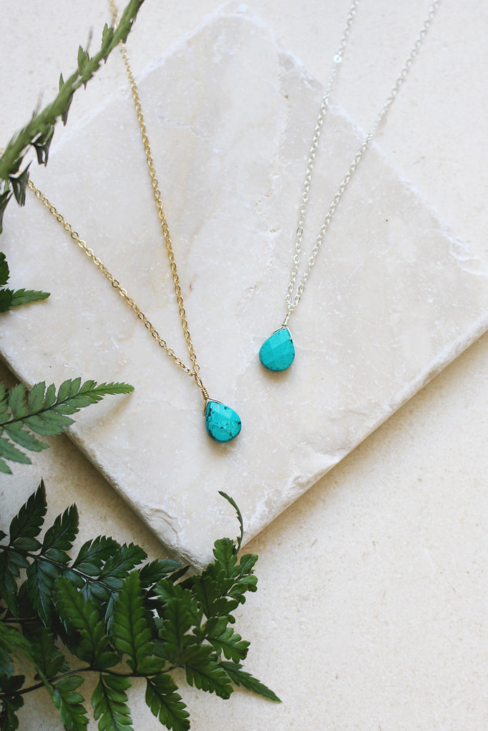 Tiny turquoise teardrop necklaces