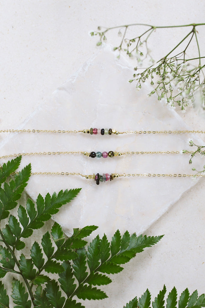 Tourmaline bead bar necklaces