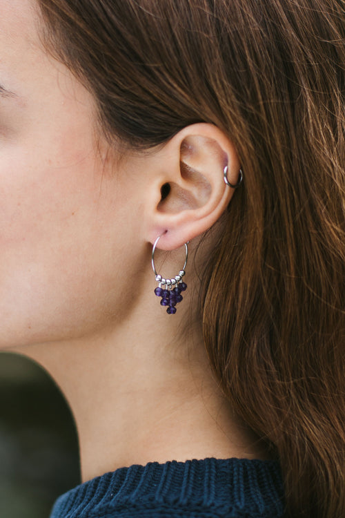 Amethyst Statement Hoop Earrings - Luna Tide