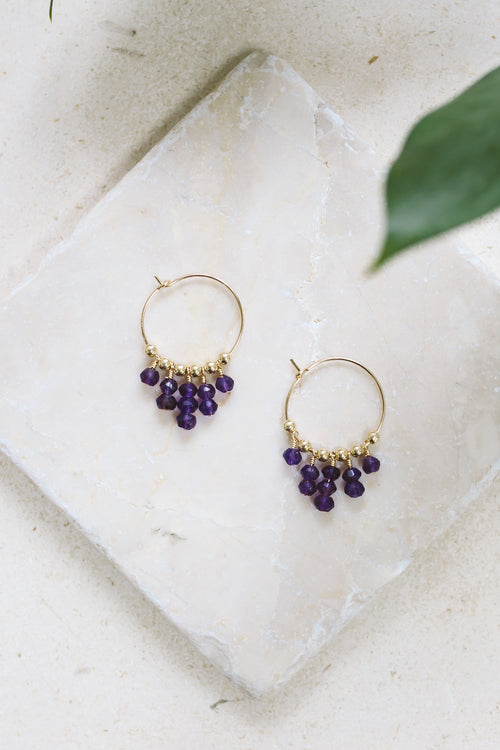 Amethyst Statement Hoop Earrings