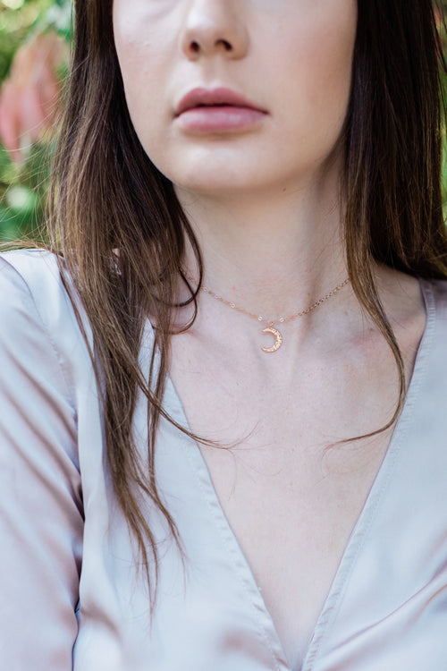 Rose Gold Crescent Moon Choker - Luna Tide