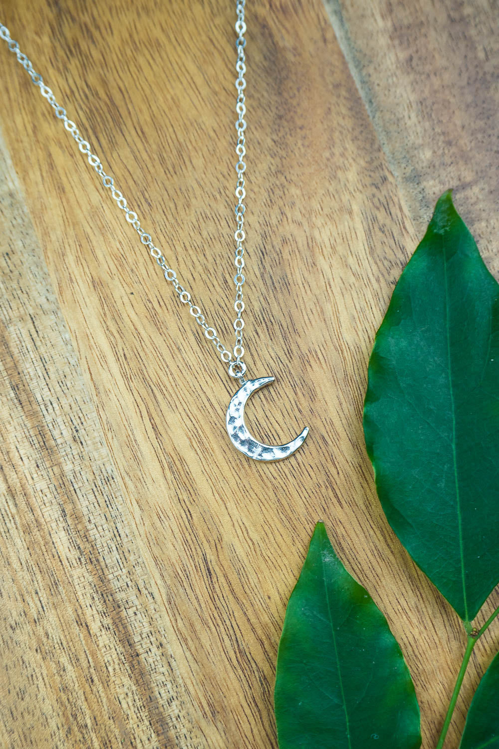 Silver Crescent Moon Necklace - Luna Tide