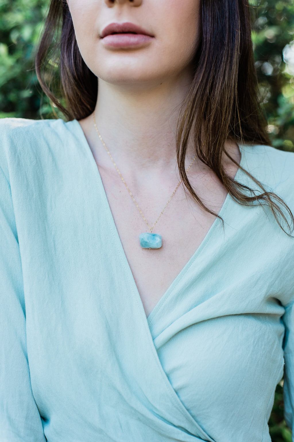 Chunky Aquamarine Crystal Nugget Necklace - Luna Tide