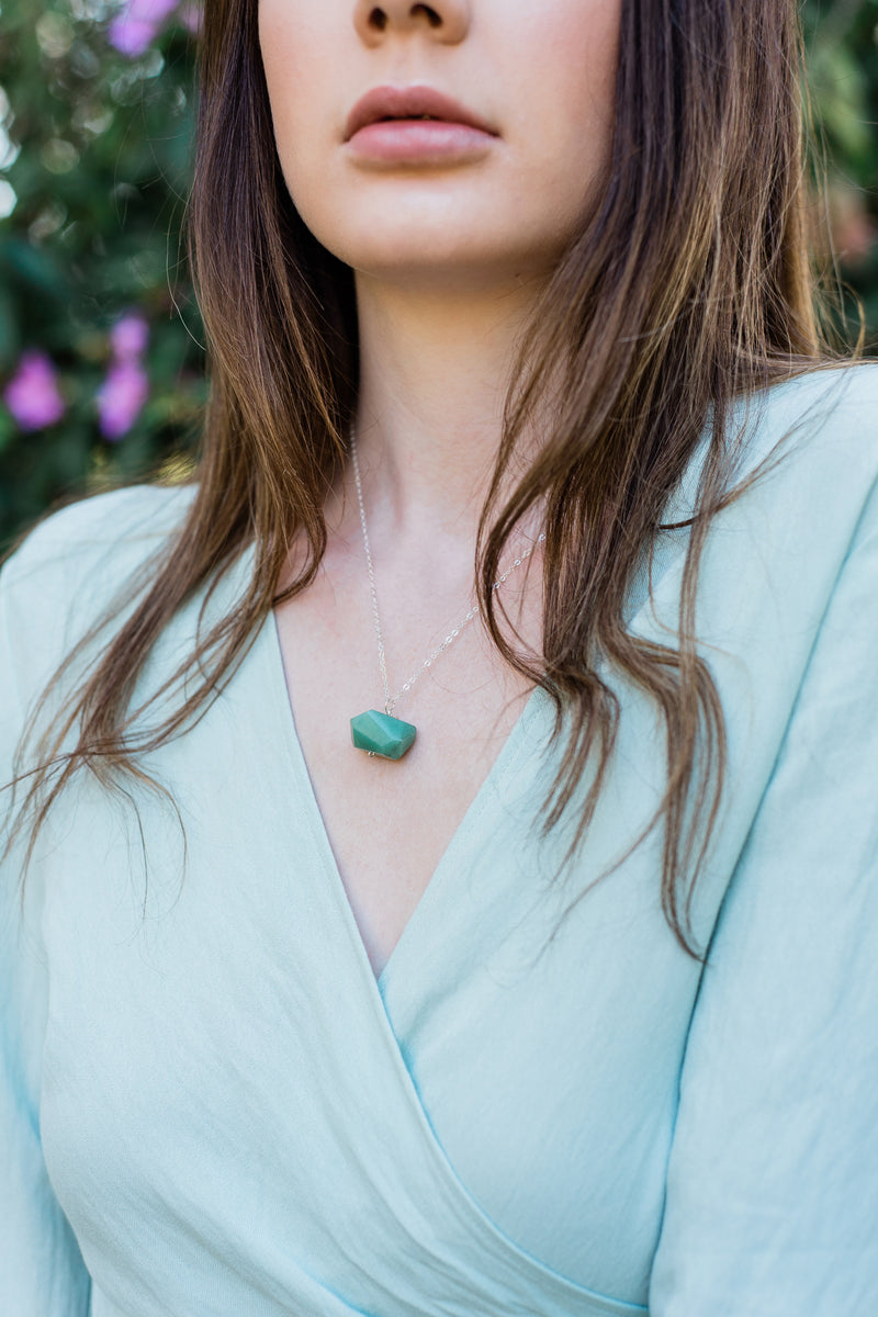 Chunky Green Aventurine Crystal Nugget Necklace - Luna Tide