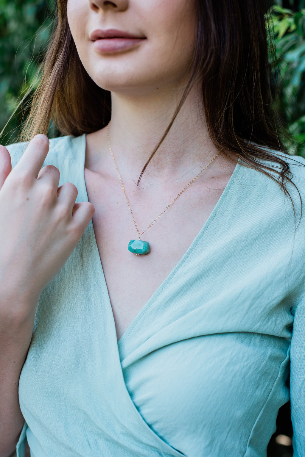 Chunky Amazonite Crystal Nugget Necklace - Luna Tide