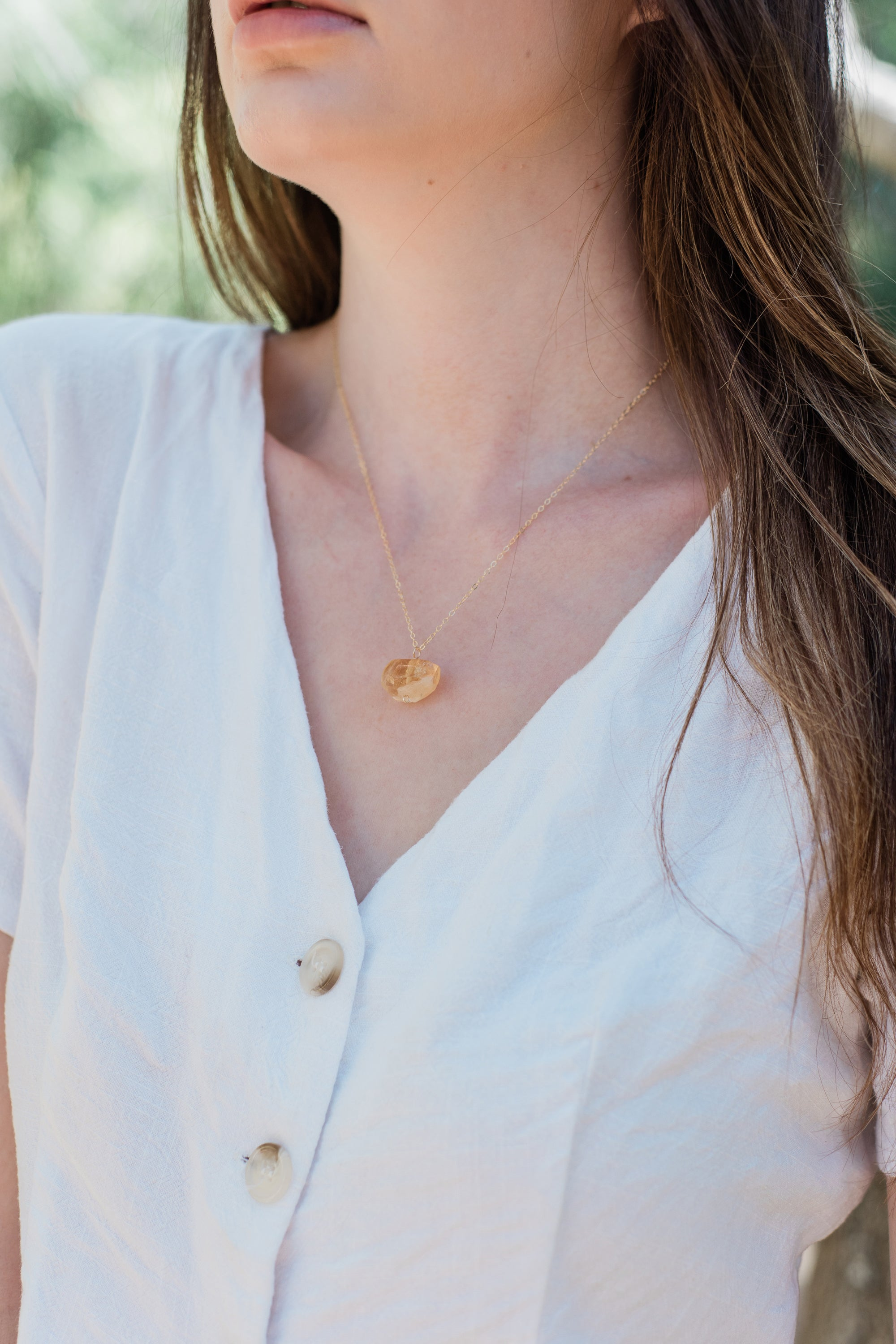Chunky Citrine Crystal Nugget Necklace - Luna Tide