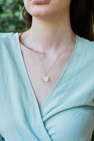 Rose Quartz Nugget Pendant Necklace