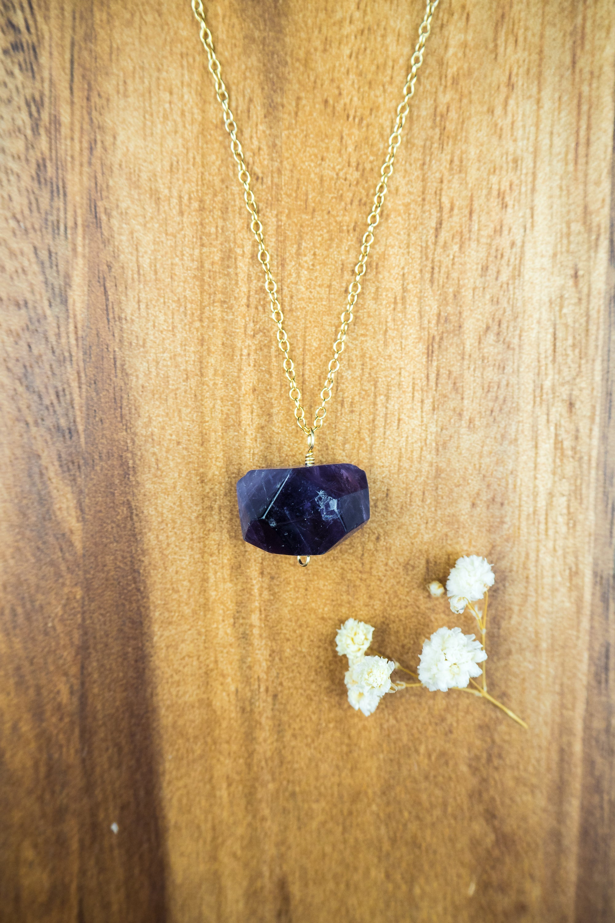 Chunky Dark Amethyst Crystal Nugget Necklace - Luna Tide