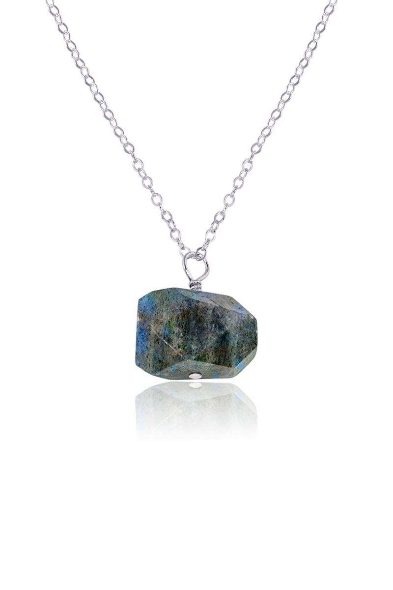 Chunky Labradorite Crystal Nugget Necklace - Luna Tide Handmade Jewellery