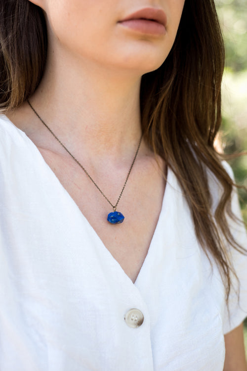 Chunky Lapis Lazuli Crystal Nugget Necklace - Luna Tide