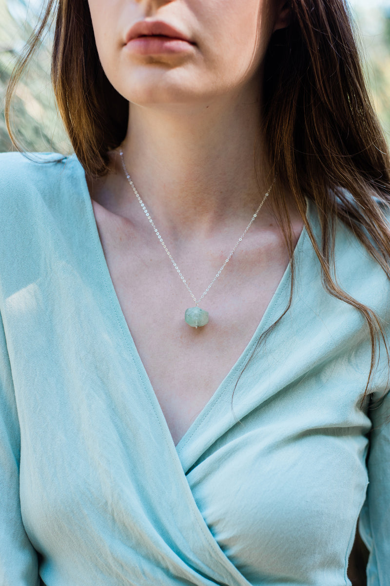 Chunky Prehnite Nugget Crystal Necklace - Luna Tide Handmade Jewellery