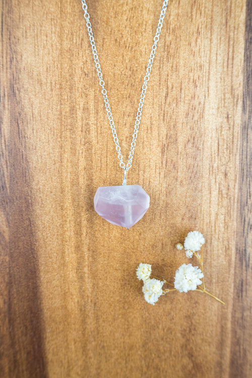 Chunky Rose Quartz Crystal Nugget Necklace - Luna Tide