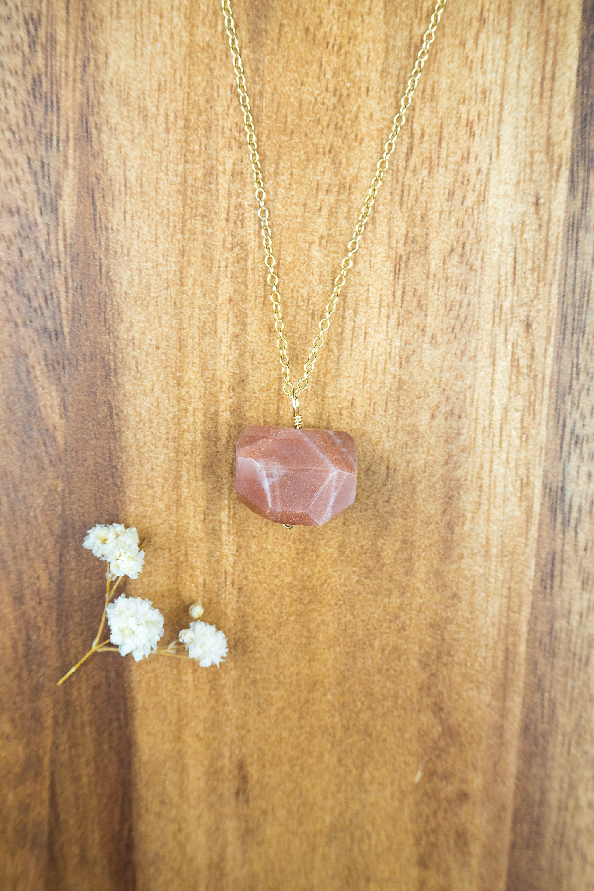 Chunky Sunstone Crystal Nugget Necklace - Luna Tide