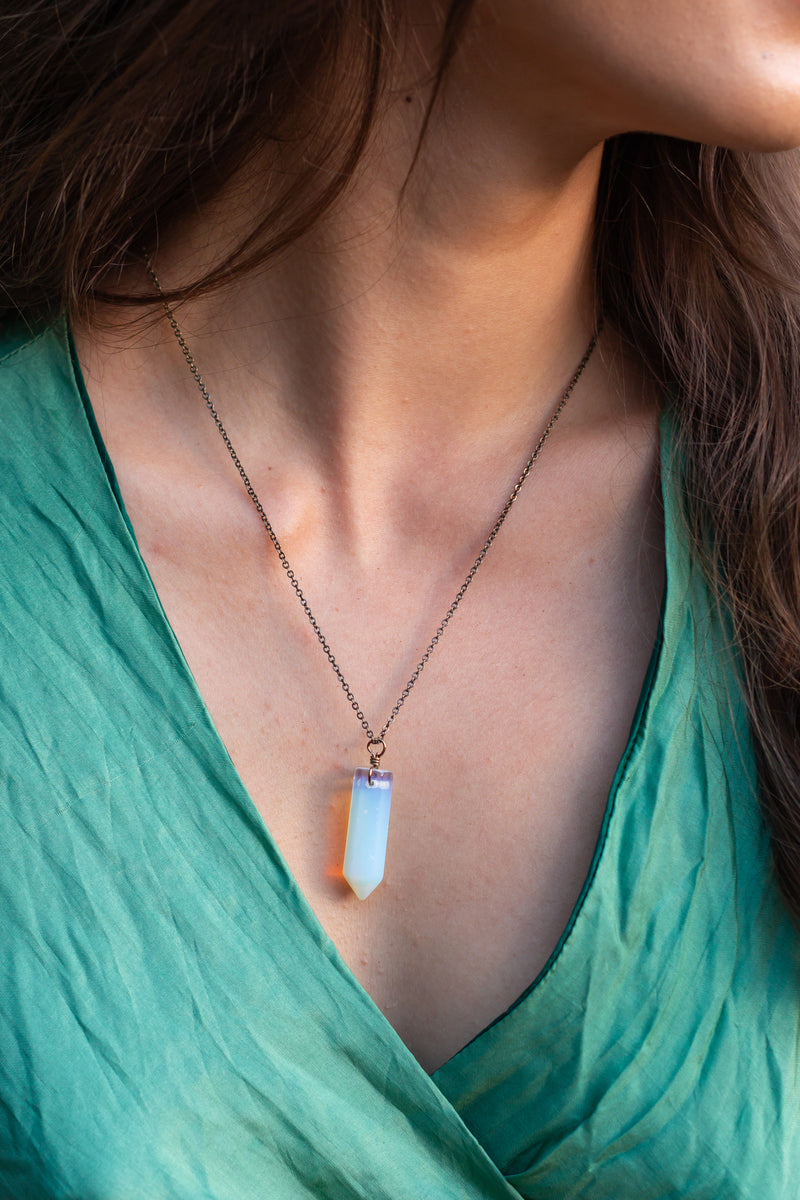 Opalite Crystal Point Necklace - Luna Tide