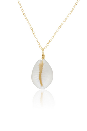 Large White Cowrie Puka Shell Necklace