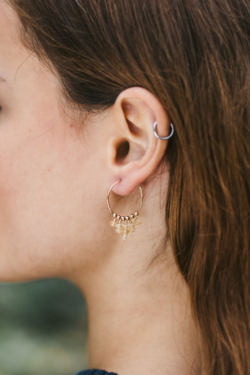 Citrine Statement Hoop Earrings - Luna Tide