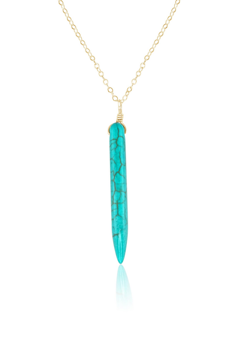 Turquoise Howlite Long Spike Necklace