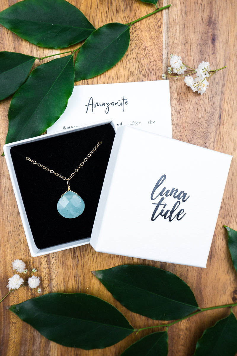 Large Amazonite Teardrop Necklace - Luna Tide