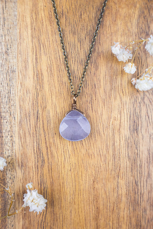 Large Lavender Quartz Teardrop Necklace - Luna Tide