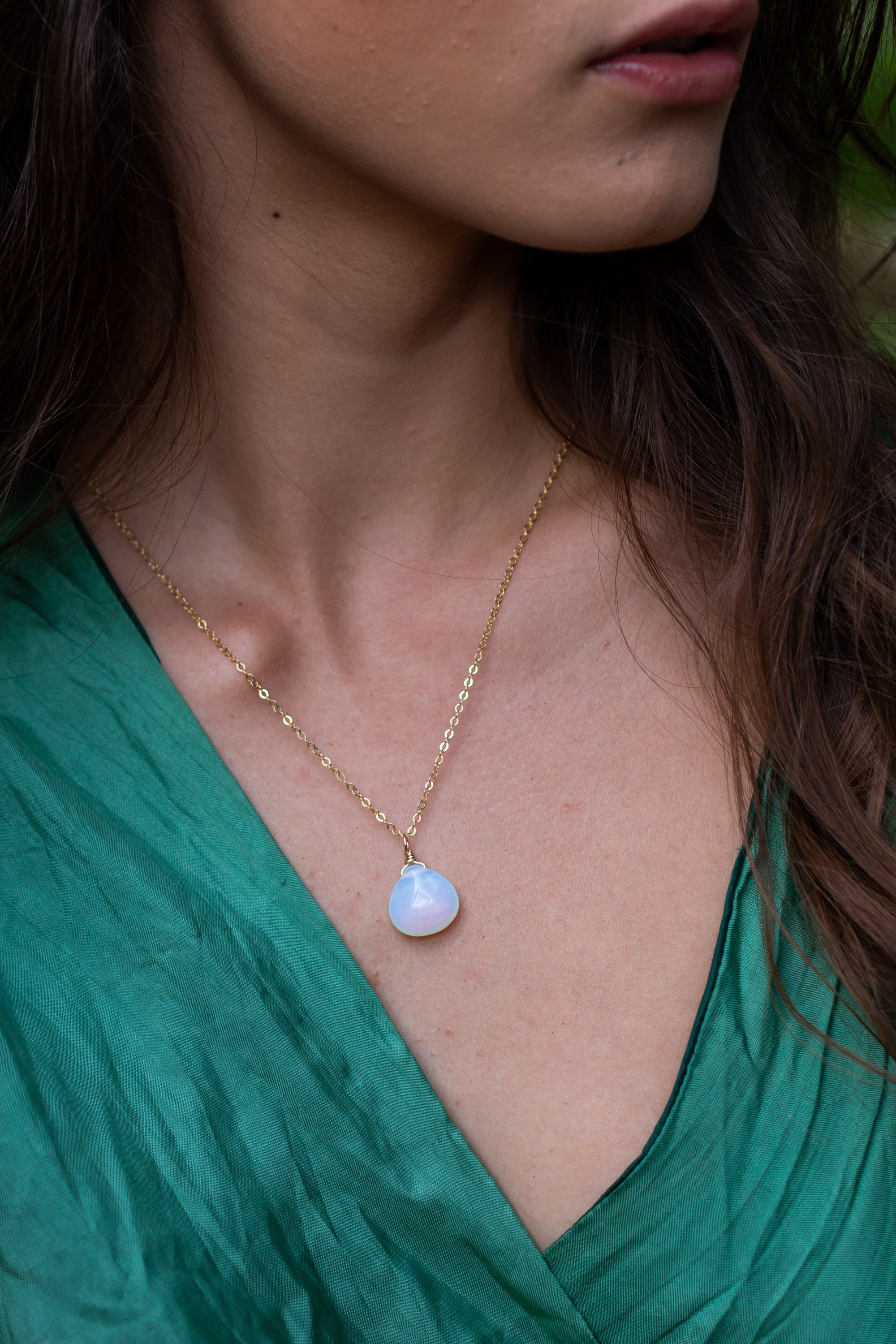 Large Opalite Teardrop Necklace