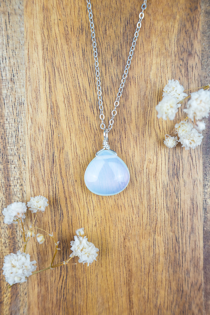 Large Opalite Teardrop Necklace - Luna Tide