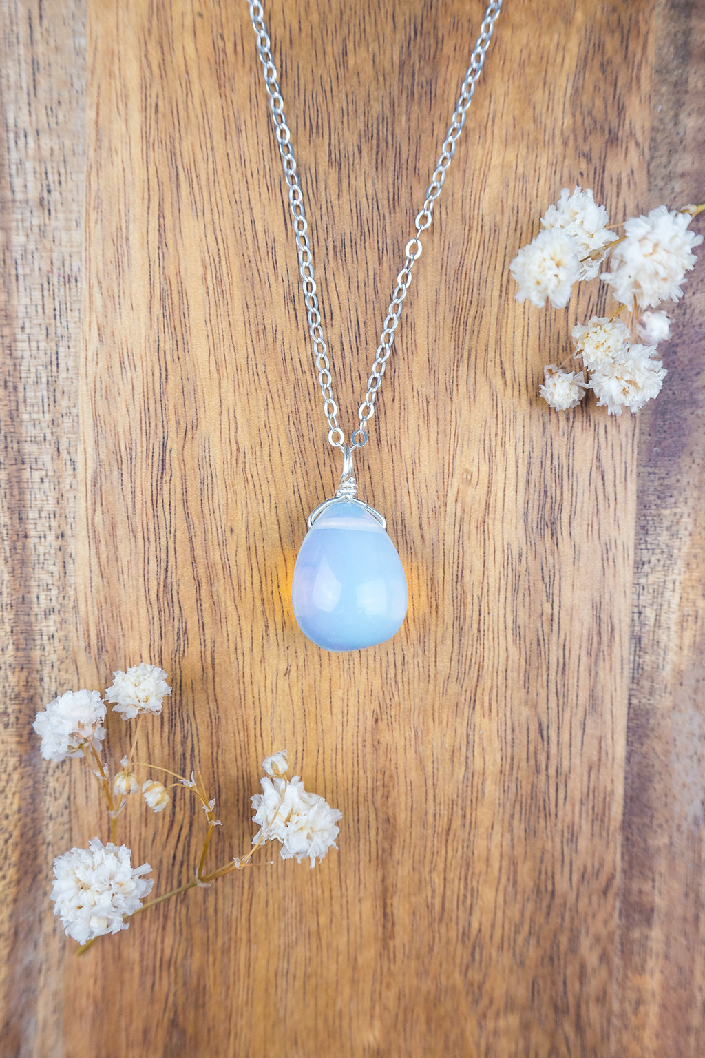 Large Opalite Round Pear Drop Necklace - Luna Tide