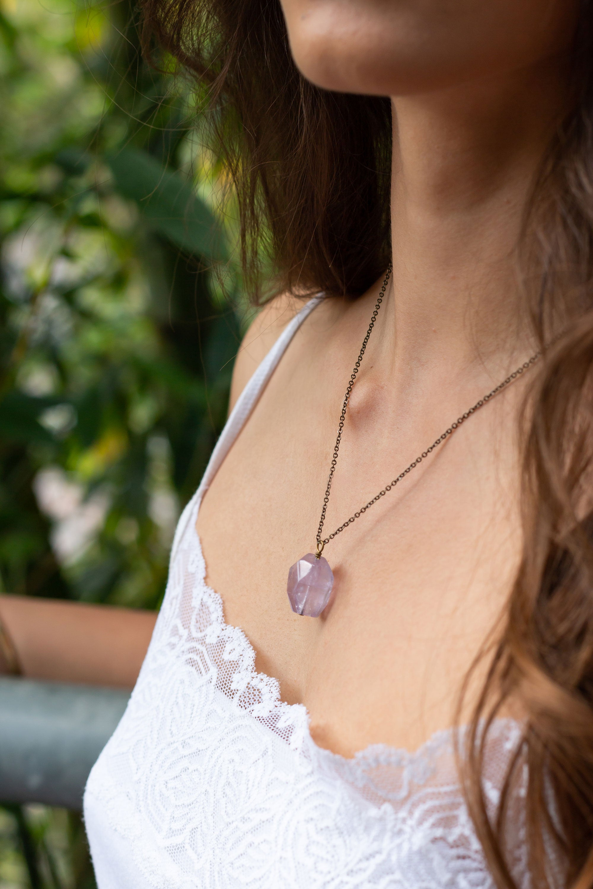 Amethyst Nugget Pendant Necklace - Luna Tide