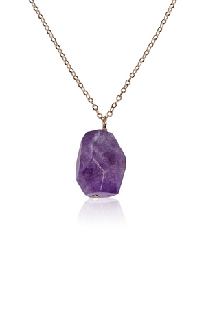 Amethyst Nugget Pendant Necklace