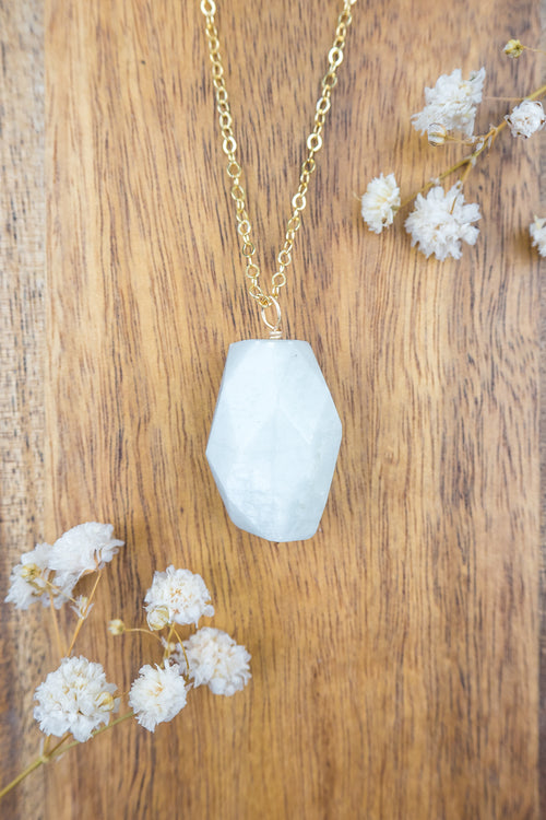 Aquamarine Nugget Pendant Necklace - Luna Tide