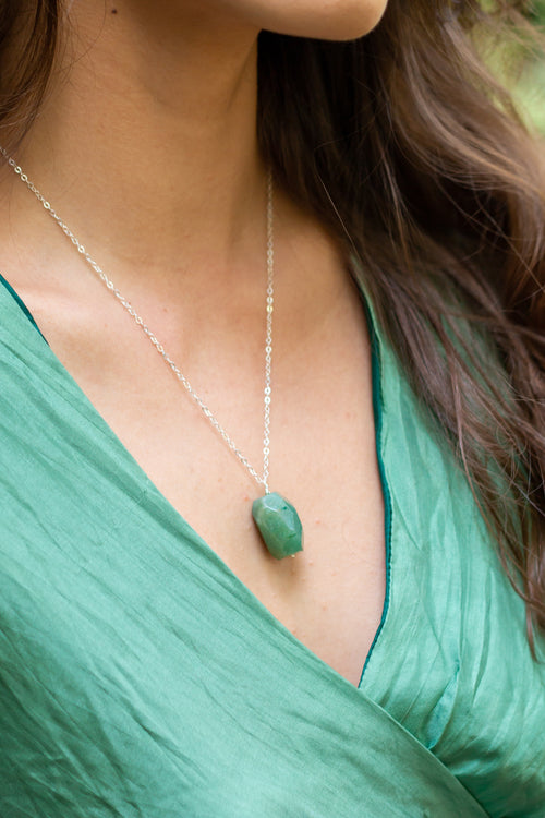 Aventurine Nugget Pendant Necklace - Luna Tide