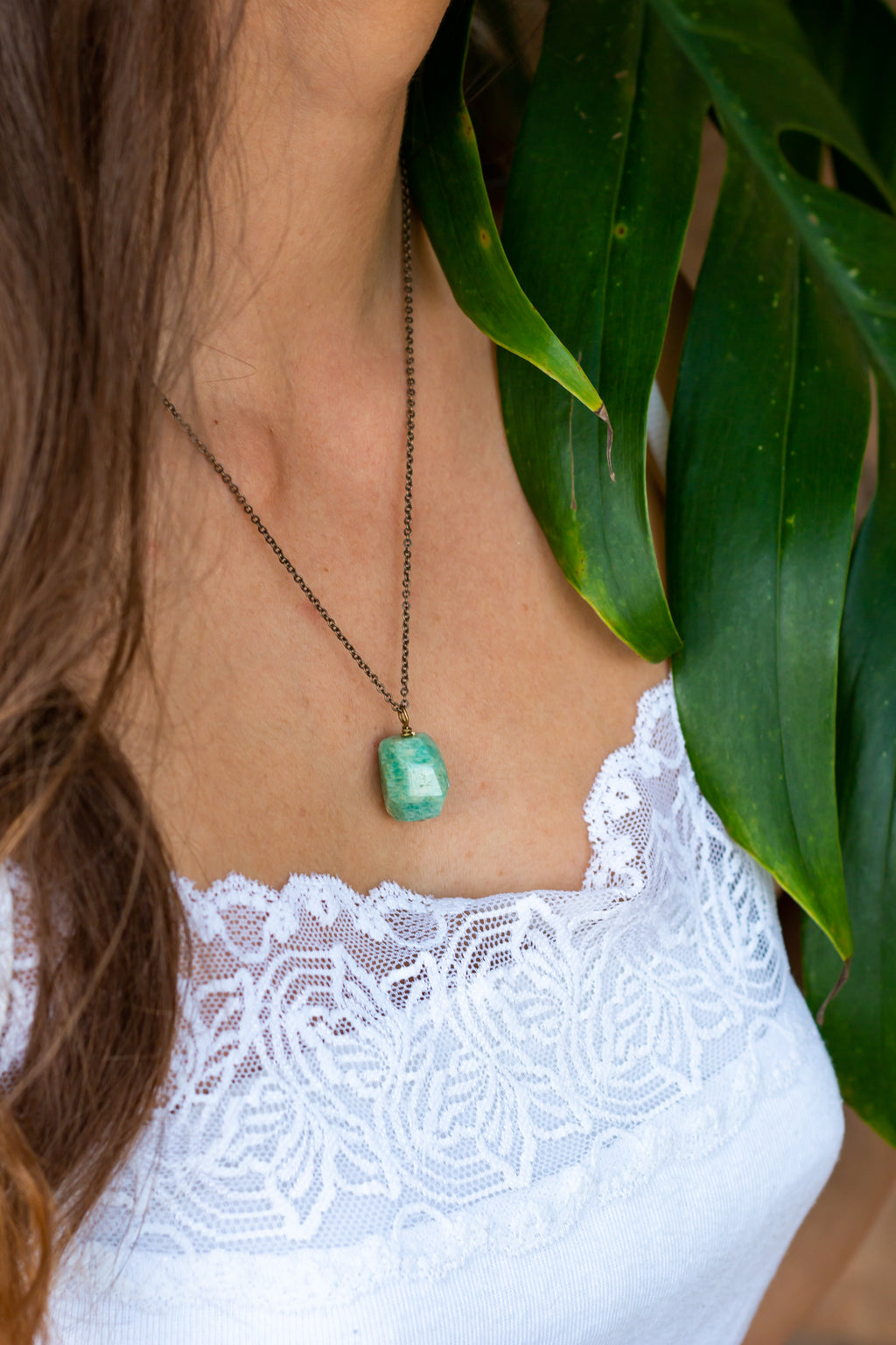 Amazonite Nugget Pendant Necklace - Luna Tide