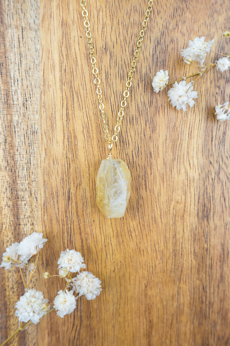 Citrine Nugget Pendant Necklace - Luna Tide Handmade Jewellery