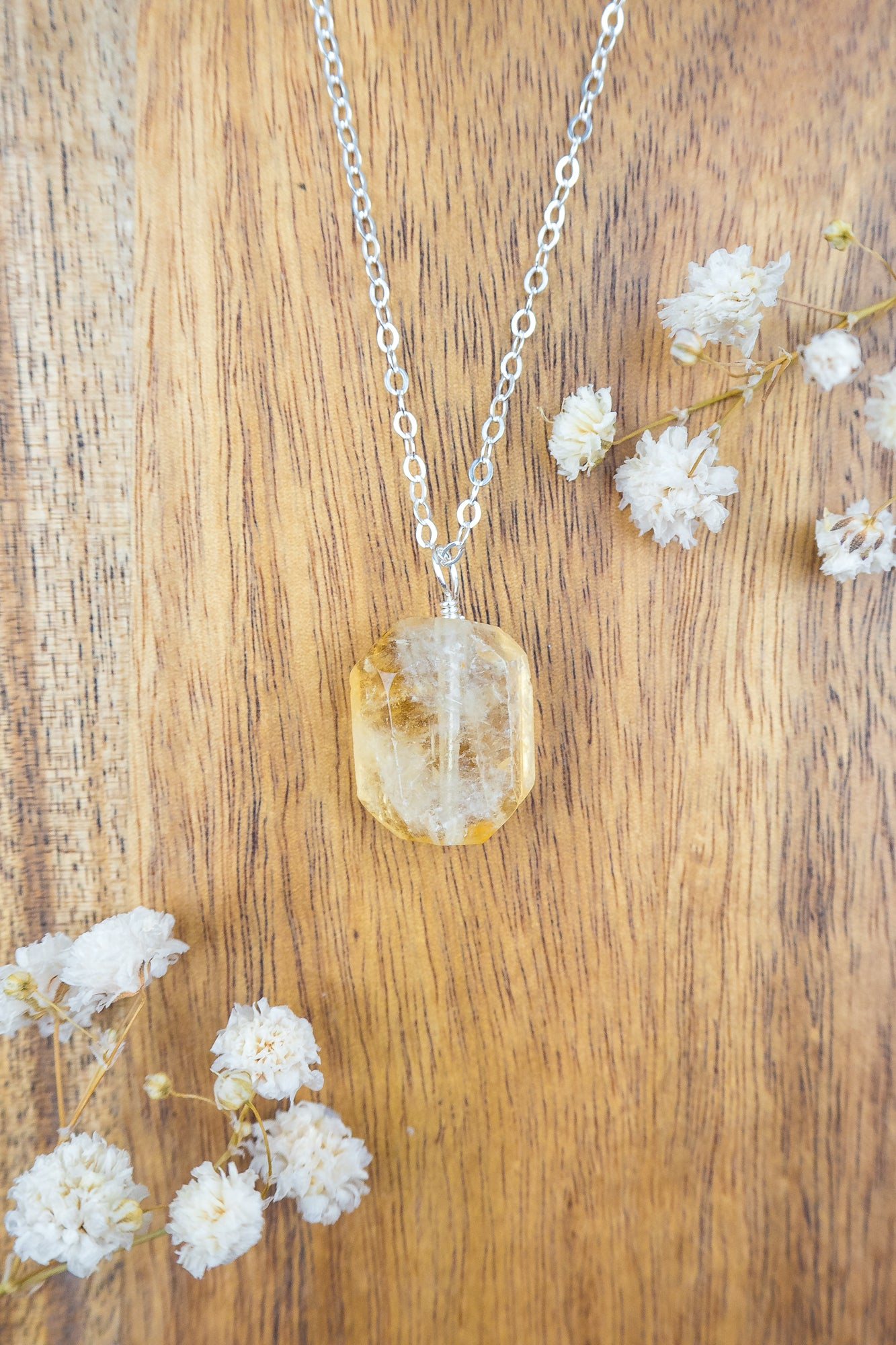 Citrine Nugget Pendant Necklace - Luna Tide