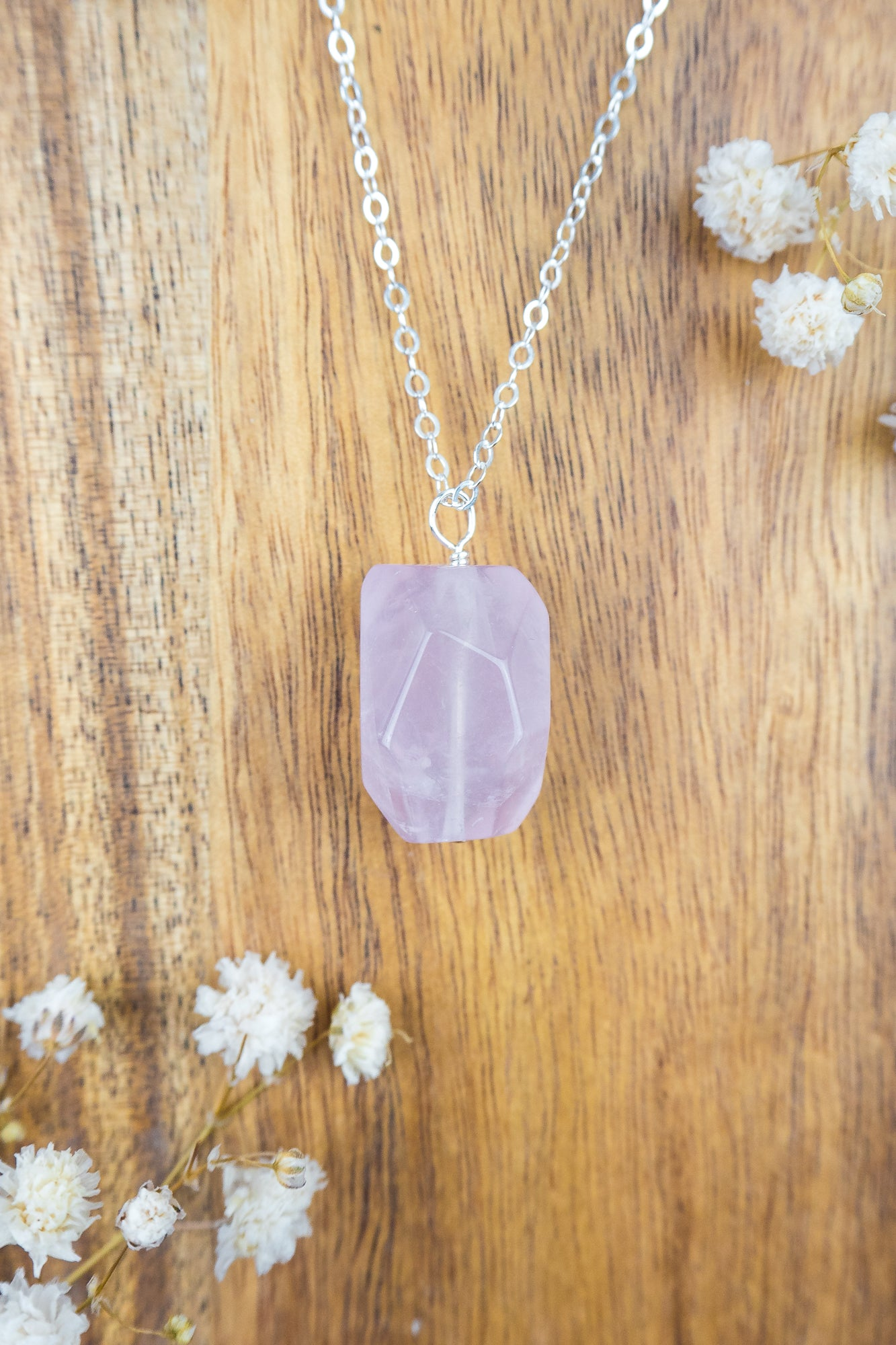 Rose Quartz Nugget Pendant Necklace - Luna Tide