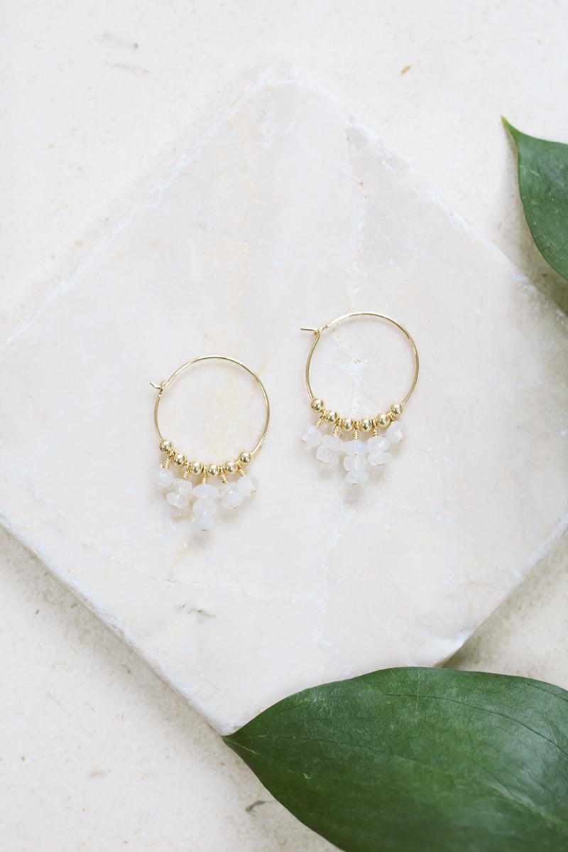 Rainbow Moonstone Statement Hoop Earrings - Luna Tide