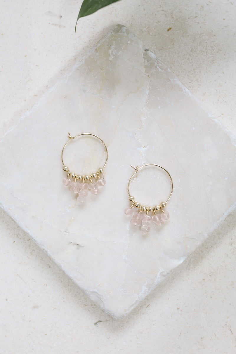 Rose Quartz Statement Hoop Earrings - Luna Tide