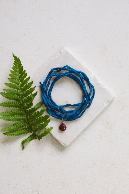 Ruby Silk Wrap Bracelet - Luna Tide