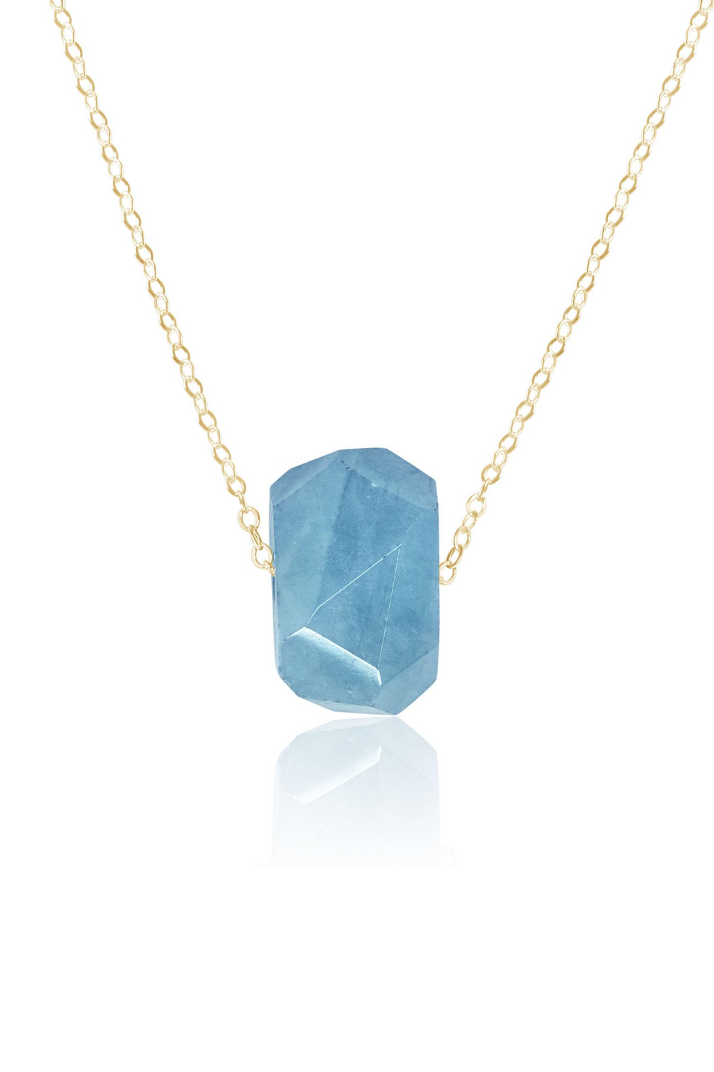 Simple Aquamarine Stone Necklace