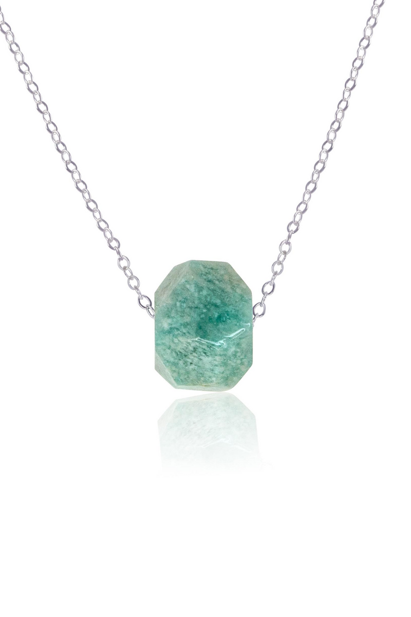 Simple Amazonite Stone Necklace - Luna Tide Handmade Jewellery