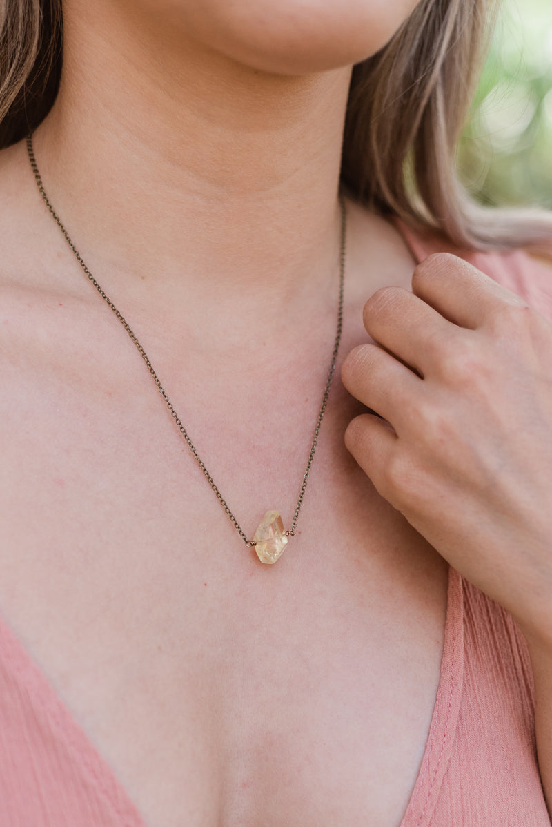Simple Citrine Stone Necklace - Luna Tide