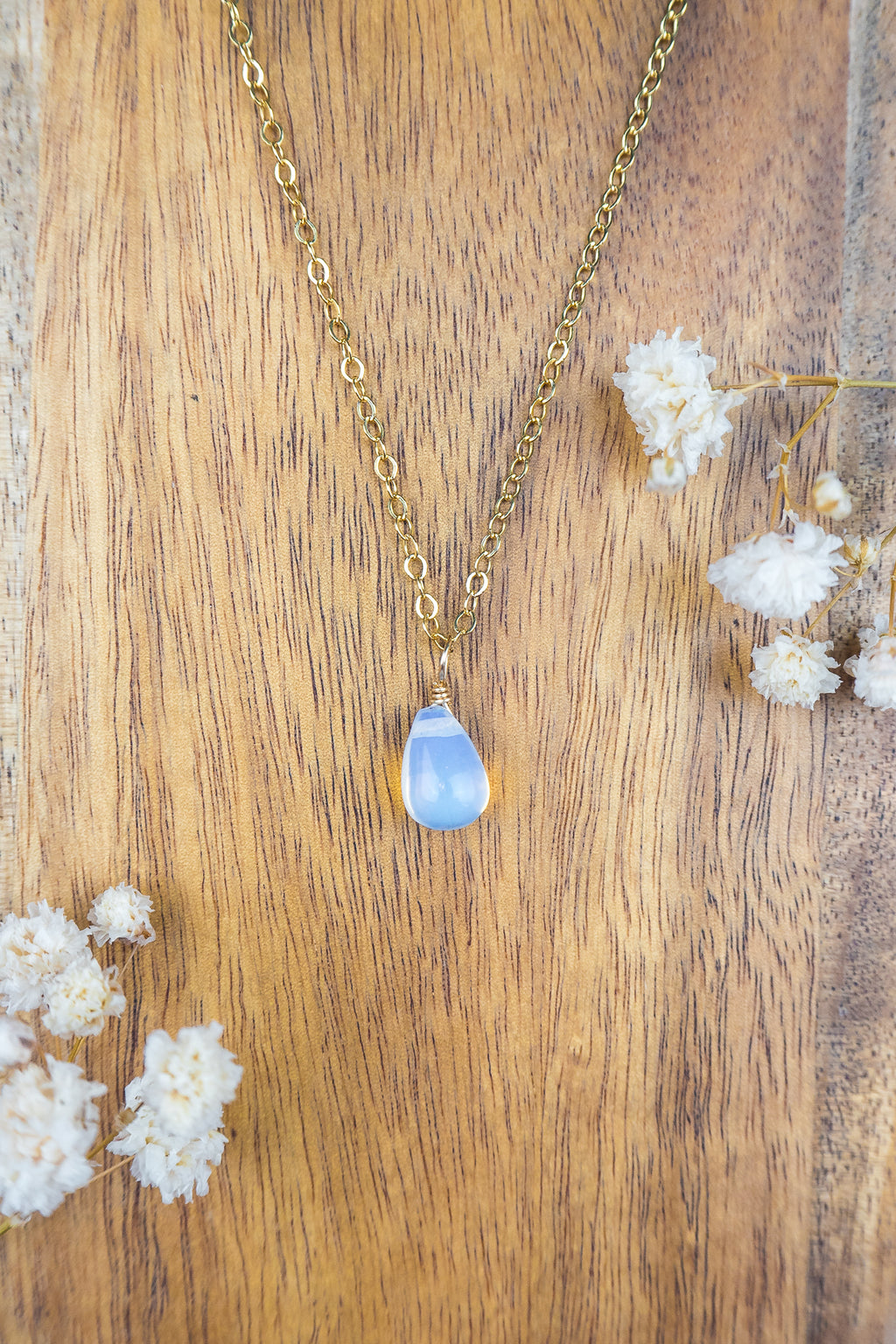 Tiny Opalite Teardrop Necklace - Luna Tide