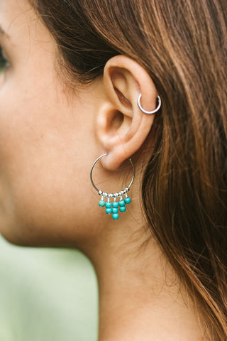 Raw Turquoise Gemstone Dangle Hoop Earrings