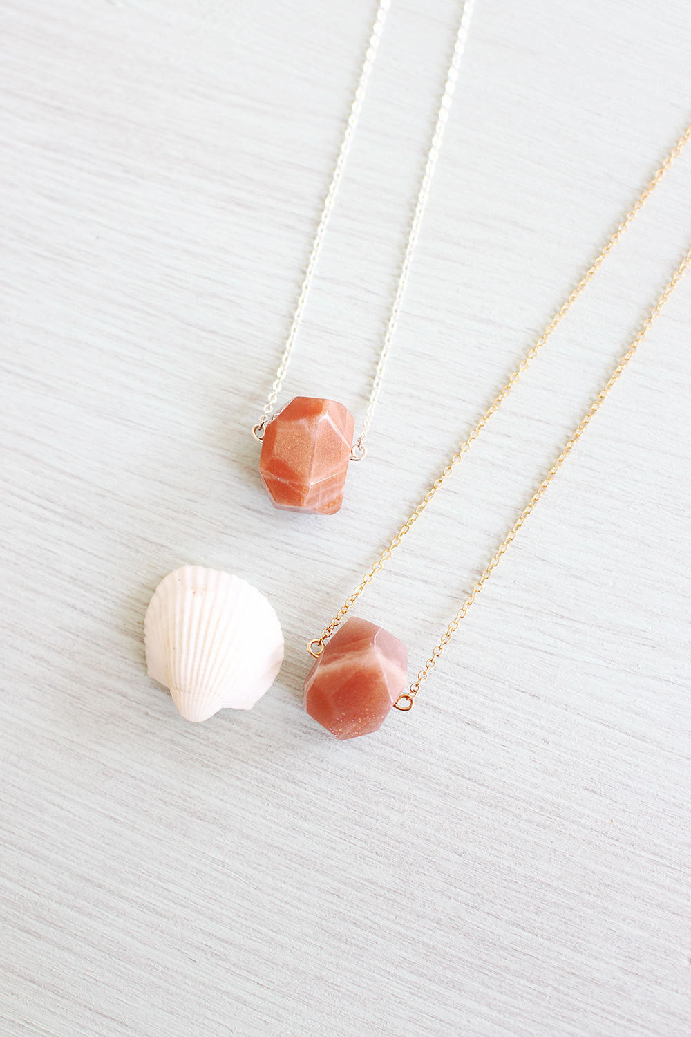 Small Sunstone Nugget Necklace