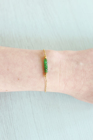 Apatite Chip Bead Bar Bracelet