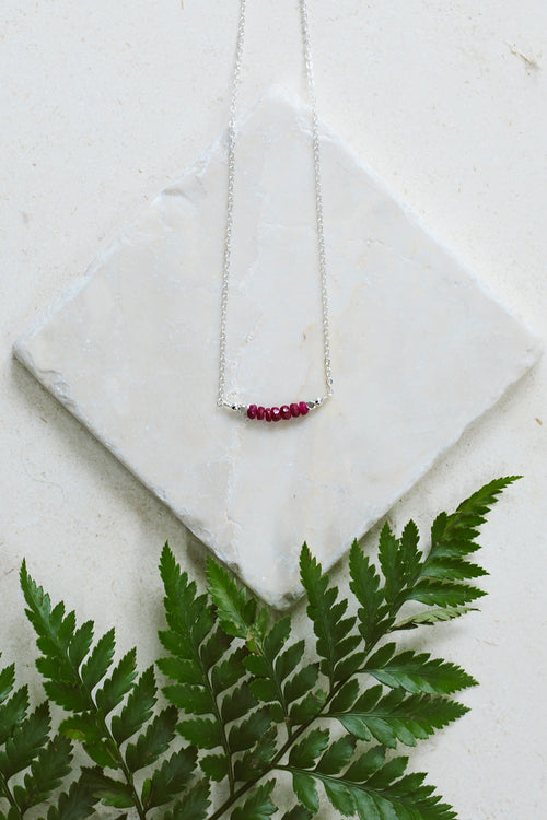 Ruby Bead Bar Necklace