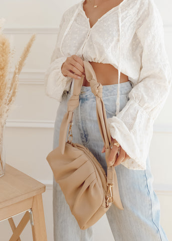 Valencia Tan Scrunched Shoulder Bag
